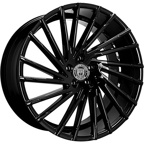Lexani Wraith - 20 Inch Staggered Rims - Set of 4 Gloss Black Wheels - Made for Sports Racing Cars - Fits Challenger, Charger, Mustang, Camaro, Cadillac and More (20x8.5 / 20x10) - Rines Para Carros