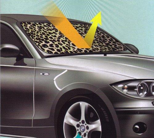 Tan Beige Leopard Animal Print Car Front Windshield Auto Accordion Style Sunshade - Jumbo Size
