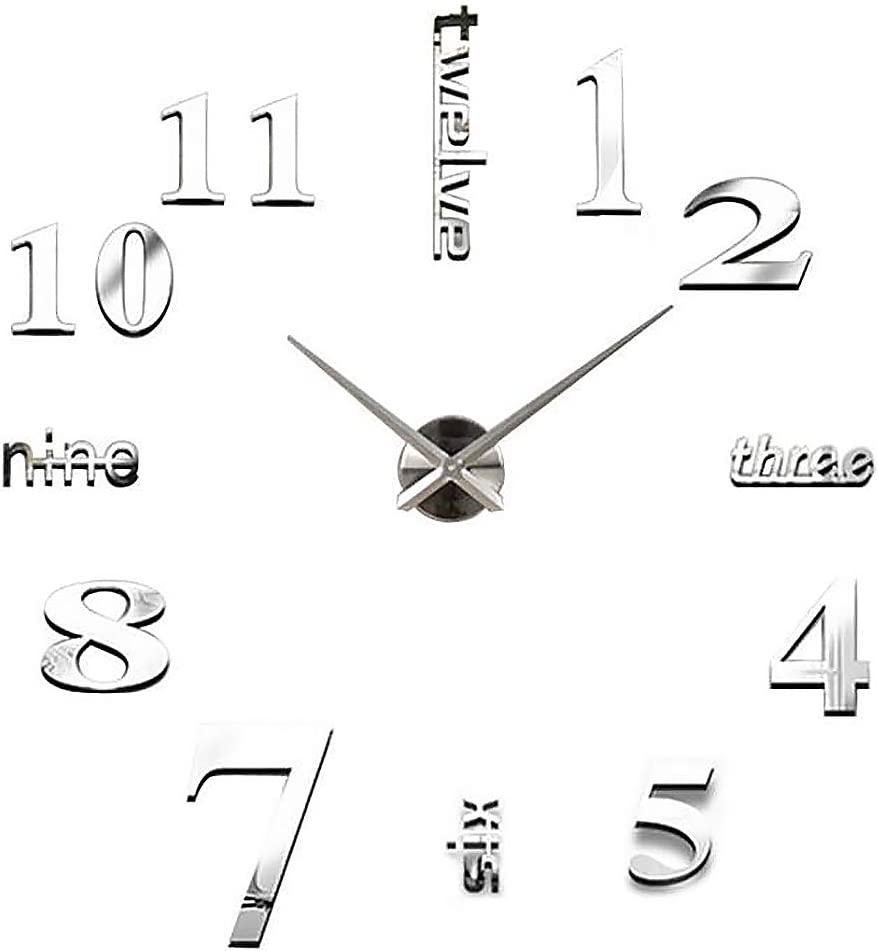 INSHERE 3D Wall Clock, Large Wall Clocks for Living Room Decor, Silent, Modern Wall Clock for Kitchen, Office, School, Home, Bedroom, Living Room Decor (Silver)