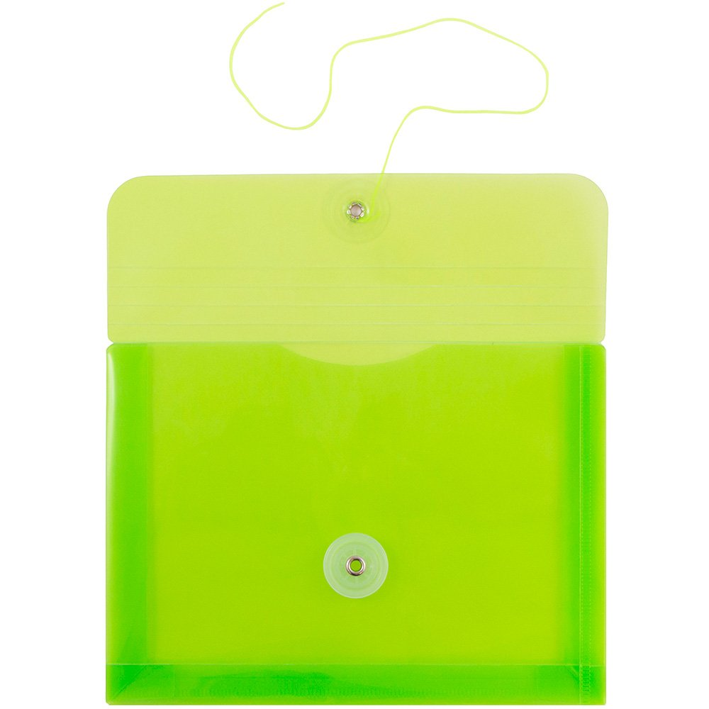 JAM PAPER Plastic Envelopes with Button & String Tie Closure - Index Size - 5 1/2 x 7 1/2 - Lime Green - 12/Pack by JAM Paper (Image #2)