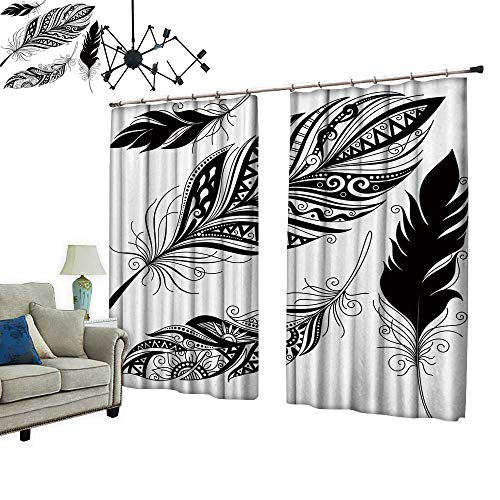 PRUNUS Waterproof Window Curtain Peerless Decorative Feather, Tribal Design, Tattoo Sleep Well Blackout Curtain wuth Hook for Bedroom,W72 ()