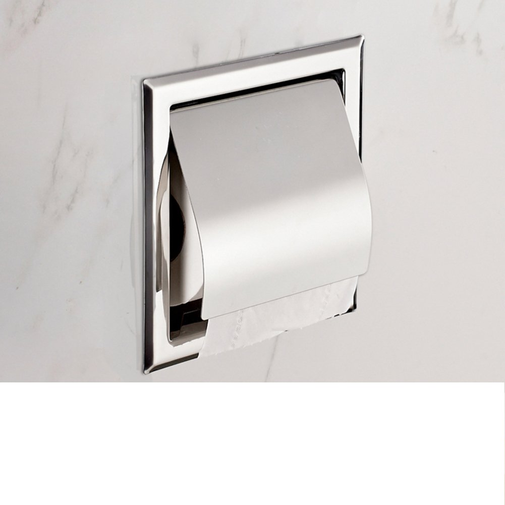 Embed Wall Mounted Bathroom Toilet Paper Holder Roll Tissue Box Stainless Steel
