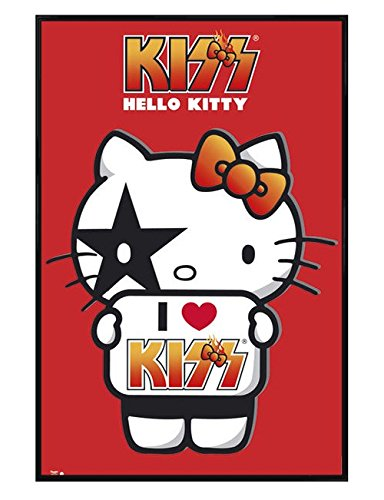 Hello Kitty Gloss Black Framed I Love Kiss Maxi Poster 61x91.5cm ...