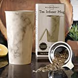 Ceramic Travel Mug with Lid. Double-Walled Insulated Cup comes with Deep Stainless Steel Tea Infuser and Bonus Silicone Top. Extra Tall Single Cup Perfectly Steeps Loose Leaf Tea … (12)