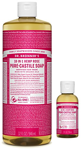 Dr. Bronner's Pure-Castile Liquid Soap – Rose Bundle. 32 oz. Bottle and 2 oz. Travel Bottle