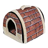 Rumfo Multifuctional Pet House Foldable Soft Warm Dog Cat Puppy Rabbit Pet Nest Cave Bed House with Removable Cushion Detachable Cashmere Mattress Travel Pet Bed Bag Product (S)