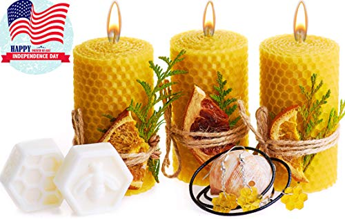 Beeswax Gifts Box. Set of 3 Pillar 100% Beeswax Candles with Natural Honey Scent (Size 3.3 x 1.8 in), Honeycomb Jewelry and 2 Shea Butter Soap