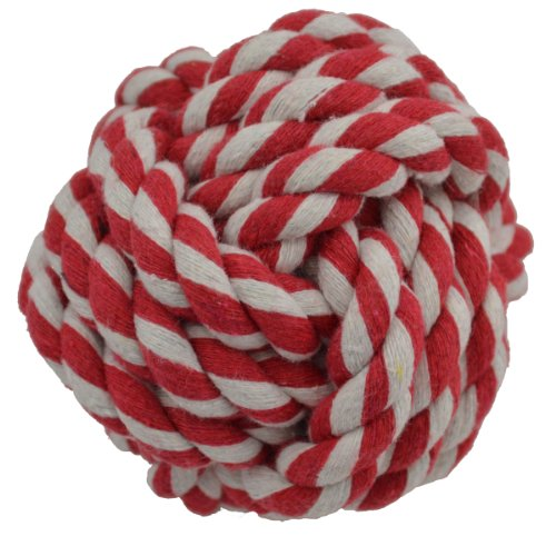 Amazing Pet Products Rope Dog Toy, 3.75-Inch Rope Ball, Red