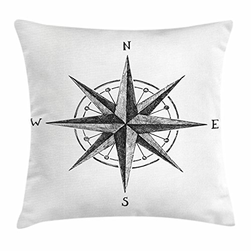 Compass Throw Pillow Cushion Cover by Ambesonne, Seamanship Hand Drawn Windrose with Complete Directions North South West, Decorative Square Accent Pillow Case, 16 X 16 Inches, Charcoal Grey White (Luxury Compass)