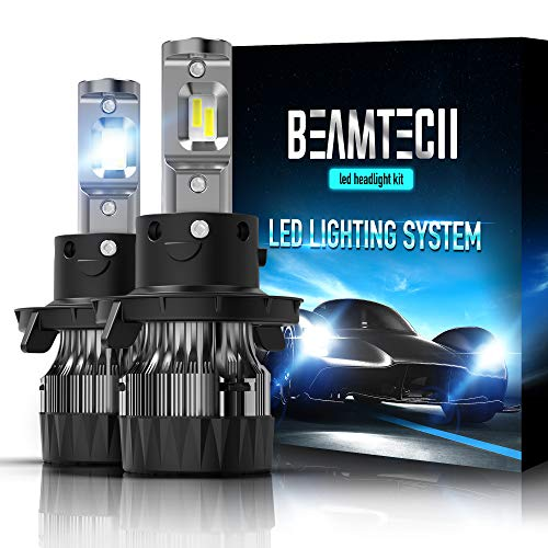 (BEAMTECH H13 LED Headlight Bulbs,6500K 10000 Lumens Extremely Super Bright 9008 Hi/Lo 30mm Heatsink Base CSP Chips Conversion Kit,Xenon White)