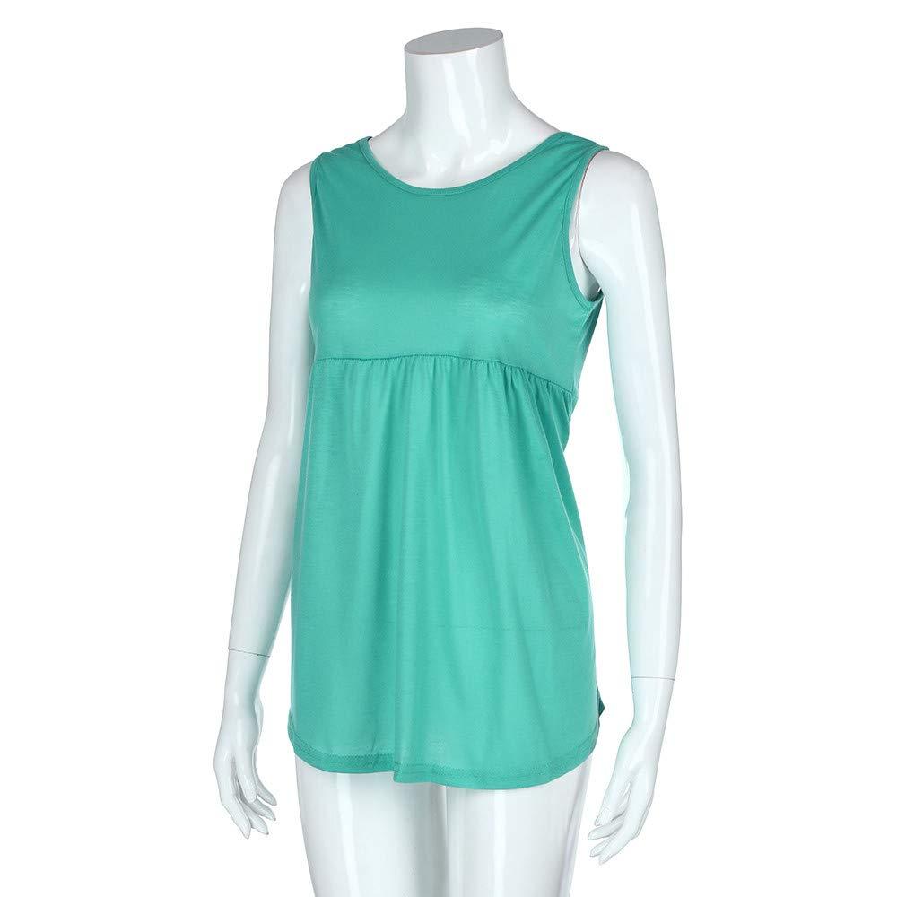 Women Fashion Plus Size Sleeveless Vest Summer Top Scoop Neck Cotton Cami Shirt Polo Blouse Green by iLUGU (Image #4)