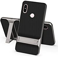 Ntron Dual Hybrid Shock Proof Kick Stand Back Cover Case for Xiaomi Redmi Note 5 Pro (Grey)
