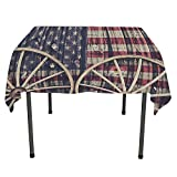 Western Decor, Table ClothsBig Antique Cart Carriage Wheels with American Flag in Retro