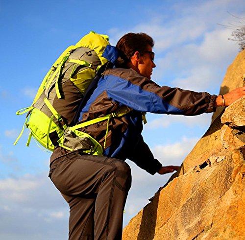 Hombres y mujeres de viaje mochila montañismo al aire libre 50 + 5 L bolso morral al aire libre profesional paquete de senderismo , blue Green
