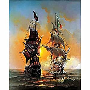 VMAE DIY Oil Painting By Numbers, Paint By Number Kits, Drawing On Canvas By Hand Coloring Arts Crafts for Kids, Students, Audults Beginner 16 X 20inch without Frame - Warship
