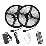 Flykul LED Strip Lights, DC12V 33ft/10M SMD5050 300Leds Waterproof LED Light Strip Kit with Flexible RF Remote Controller Stronger 3M Tape, 5A Power Supply for Home Kitchen Bedroom Party
