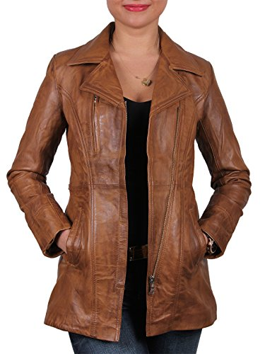 Brandslock Womens Long Leather Jacket Genuine Sheepskin (3XL / 20 - (Fits Chest: 41-43
