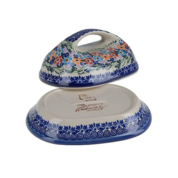 Classic Boleslawiec, Polish Pottery Hand Painted Stoneware, Ceramic Butter Dish with lid 331-U-008-Q1