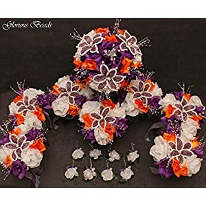PURPLE AND ORANGE BEADED Flower Lily Wedding/Quincenarea Bouquet 16 PC Set with FREE Boutonnieres 4