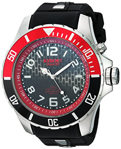 KYBOE! 'Power' Quartz Stainless Steel and Silicone Casual Watch, Color:Black (Model: KY.55-013.15)