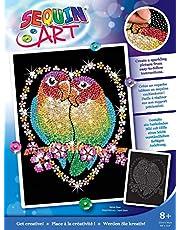 MAMMUT 8041002 - Sequin Art paillettenafbeelding onscheidbaar, vogel, steekafbeelding, knutselset met piepschuim frame, fluweelachtig beeldsjabloon, pailletten, steekstiften, handleiding, vanaf 8 jaar