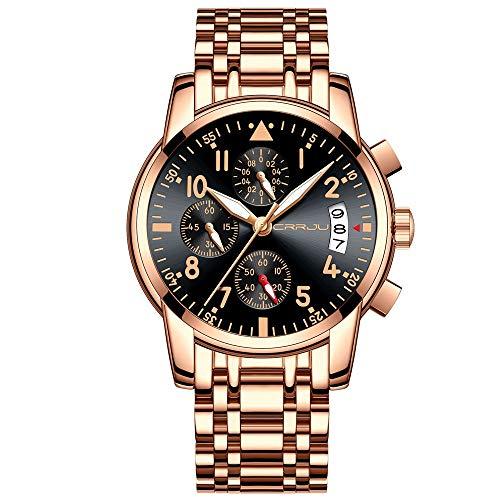 CRRJU Men's Elegant Business Quartz Watch with Full Steel Band Military Chronograph Waterproof Date Wrist Watches