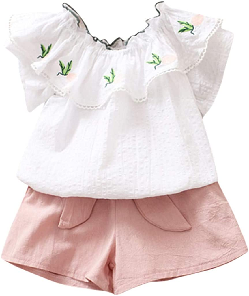 RYGHEWE Toddler Kids Baby Girl Embroidery Outfits Clothes Tops Skirt 2PCS Set
