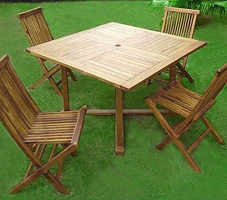 Set de mesa y sillas de jardín madera de teca, 1 mesa, 4 plazas ...