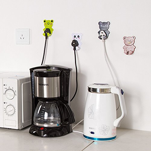 Dealglad 2Pcs Cute Cartoon Animal Plastic Home Office Wall Adhesive Power Plug Socket Cord Holder Hanger Sticky Hook (Random Color) (Holder Plug)
