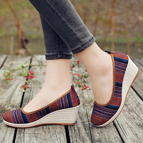 de Zapatillas de Lona Running JITIAN Marrón Mujer wqTAtw