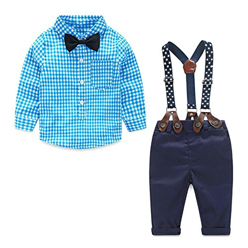 JIANLANPTT Baby Boy Clothes Set 2Pcs Bowtie Plaid Shirt Overall Gentleman Suits Lake Blue 18-24months