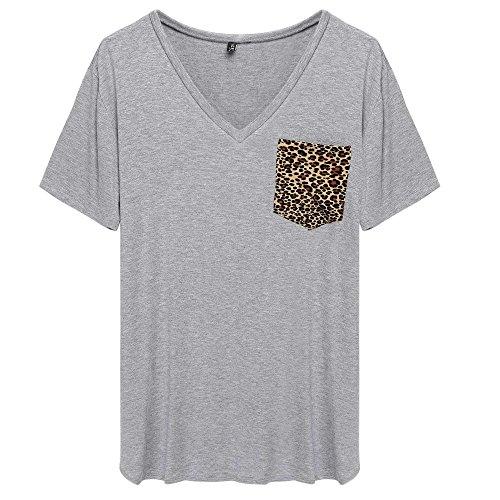 ACEVOG Women V Neck Oversized Leopard Printing Short - Plus Size V Necks