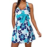 iZHH Women Tankini Sets Beachwear Ladies Swimwear Swimdress Two Piece Swimsuits(Blue,0)