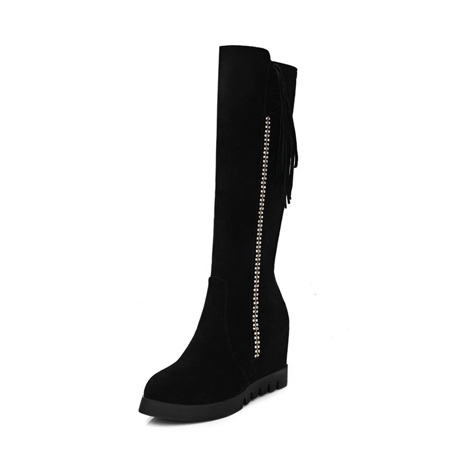 1TO9 Girls Tassels Heighten Inside Retro Xi Shi Velvet Boots