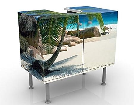 Apalis Design Vanity Dreamy Beach 60x 55x 35cm, piccolo, largo 60cm, regolabile, lavandino, lavabo, rubinetto per lavabo da bagno, armadio, unità di base, bagno, narrow, Flat 53654