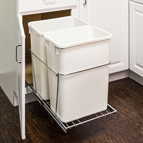 Trash Can Pull-Outs 35-Quart Double Pullout Waste Container System with Full Extension Ball Bearing Slides (Polished Chrome)