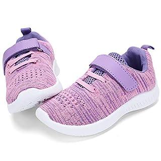 nerteo Cute Toddler Shoes Girls Kids Tennis Walking Shoes Sport Running Sneakers Purple/Pink 7 M US Toddler