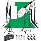Kshioe 2M x 3M/6.6ft x 9.8ft Background Support System and 900W 6400K Umbrellas Softbox Continuous Lighting Kit for Photo Studio Product,Portrait and Video Shoot Photography