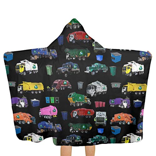 Oversized Hooded Baby Towel Bathrobe Garbage Truck Collage Large Beach Bath Towel Toddler Swim Pool Coverup Poncho Cape for Kids Children Teenager
