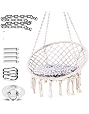 FC Hammock Chair Macrame Swing -Hanging Cotton Rope Hammock Swing Chair for Indoor and Outdoor Use,Handmade Knitted Cotton Rope Hanging Chair(White)