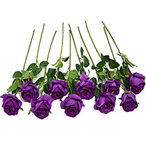 JUSTOYOU 10pcs Artificial Rose Silk Flower Blossom Bridal Bouquet for Home Wedding Decor(Purple) 35