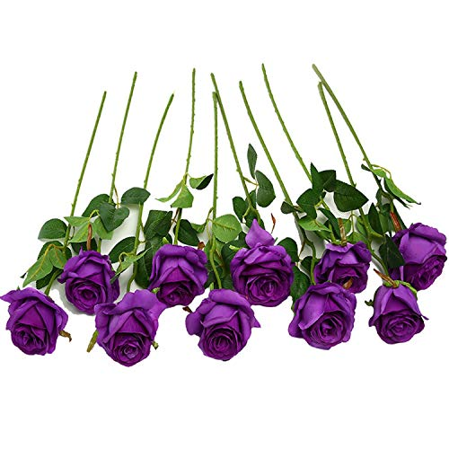 JUSTOYOU 10pcs Artificial Rose Silk Flower Blossom Bridal Bouquet for Home Wedding Decor(Purple) (Fake Purple Flowers)