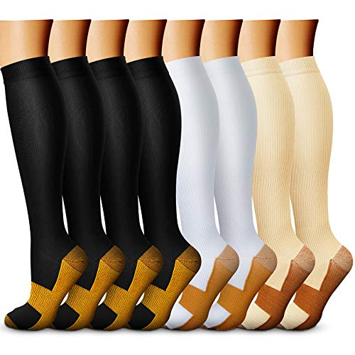 CHARMKING Copper Compression Socks for Women & Men (8 Pairs) 15-20 mmHg is Best Athletic, Running, Flight Travel,Cycling