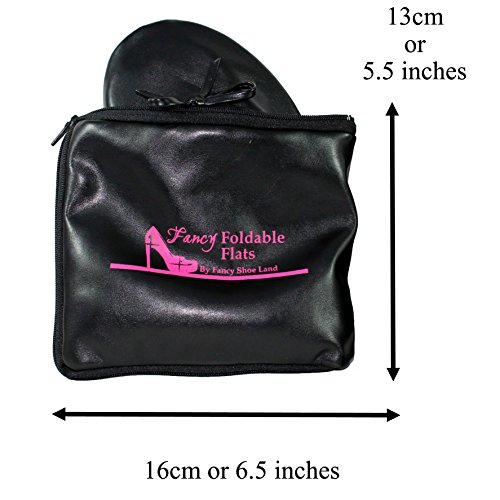Foldable flats AND TOTE EXPANDABLE Bag TO carrying High Heels SIZES 5 - 12 PLUS SIZE Portable Fold up Shoes Folding Comfortable Roll up party shoe. VLPG5z
