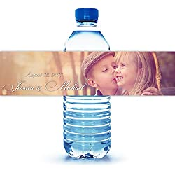 "100 Personalized Engagement Photo Water Bottle Labels 8""X2"""