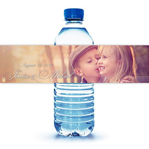 100 Personalized Engagement Photo Water Bottle Labels (Personalized Water Bottles Labels)