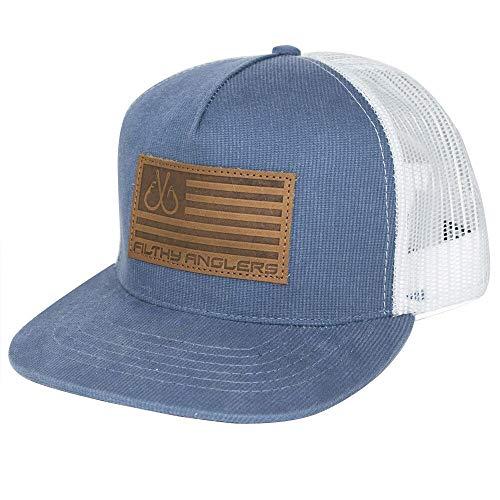 Filthy Anglers Flatbill Fishing Hat :: Snapback w/Leather Flag Patch for Men & Women (Blue)