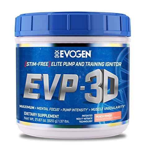Evogen EVP-3D   Extreme Pre-Workout Pump Ignitor, Arginine Nitrate, Citrulline, Beta-Alanine, Lions Mane   Peach Rings   40 Servings