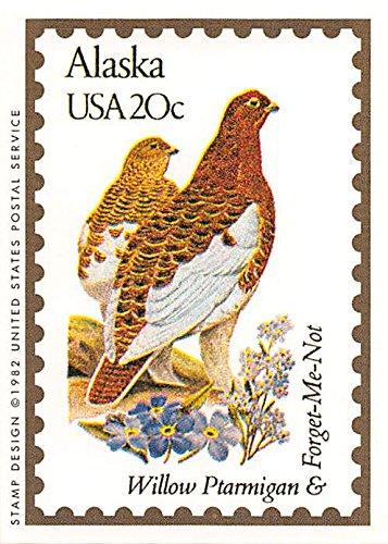 Alaska State Bird & Flower trading card (Willow Ptarmigan & Forget-Me-Not) 1991 Bon Air #2 'The Last Frontier' Autograph Warehouse