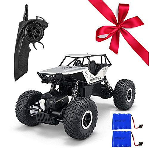 1/18 Alloy RC Cars with Two Batteries Remote Control Truck 4x4 Off Road Rock Crawler for Boys 2.4GHz Radio Controlled Monster for Kids (Sliver)